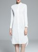 White Simple High Low Cotton-blend Shirt Dress