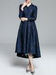 Navy Blue Jacquard Long Sleeve Elegant Evening Dress