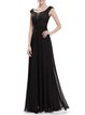 Folds Paneled Scoop Neckline Floral Elegant Evening Dress