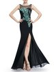 Black Mermaid Sequins Sexy Slit Sleeveless Evening Dress
