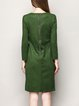 Green Animal Print Embroidered Long Sleeve High Low Crew Neck Midi Dress