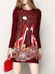 Wine Red Graphic Long Sleeve Viscose Mini Dress