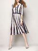 Lace A-line 3/4 Sleeve Stripes Casual Midi Dress with Belt