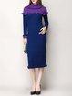 Dark Blue Elegant Knitted Midi Dress