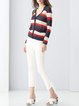 Multicolor Knitted Long Sleeve Stripes Cardigan