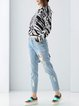 Wool Blend Long Sleeve Zebra-print Casual Sweater