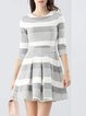 Gray Stripes Simple A-line Crew Neck Folds Mini Dress