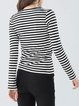 Black Simple Cotton-blend Stripes Long Sleeved Top