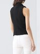 Black Lapel Buttoned Cotton Plain Simple Vest