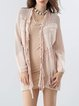 Apricot Fringed Simple Plain Silk-blend Cardigan