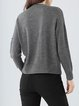 Gray Wool Blend Sweet Embroidered V Neck Sweater