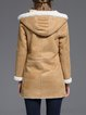 Khaki Simple Plain Hoodie Buttoned Wool Blend Coat