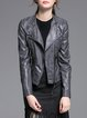 Gray Plain Zipper Long Sleeve PU Biker Jacket