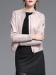 Pink Plain Pockets Long Sleeve PU Leather Jacket