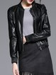 Black Simple Pockets Plain Biker Jacket
