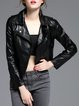 Black Street Zipper PU Biker Jacket