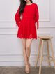 Red Lace Asymmetric Sweet Crew Neck Floral Mini Dress