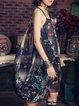 Black Boho Floral-print Midi Dress