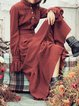 Coffee Solid Frill Sleeve Flounce Maxi Dress