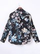 Black Shirt Collar Floral-print Chiffon Girly Blouse