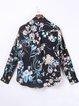 Black Floral Chiffon Casual Coat