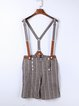 Brown Vintage Cotton Stripes Buttoned Overall