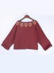 Burgundy V Neck Casual Asymmetrical Long Sleeved Top