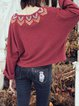 Red Embroidered Pockets Vintage Long Sleeved Top