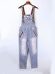 Blue Spaghetti Plain Cotton-blend Buttoned Overall