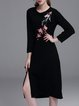 Black Slit A-line Vintage Crew Neck Sweater Dress