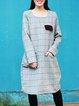 Light Gray Wool Blend Long Sleeve Midi Dress
