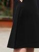 Black Plain Simple Pockets A-line Midi Skirt