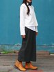 Gray Slit H-line Cotton-blend Simple Midi Skirt