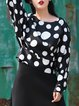 Long Sleeve Casual Polka Dots Polyester Cropped Top