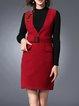 Burgundy V Neck Sleeveless Sheath Mini Dress
