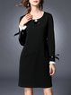 Black Polyester Shift Long Sleeve Midi Dress