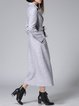 Light Gray Lapel Long Sleeve High Temperature Setting A-line Coat with Belt