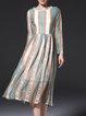 Multicolor Tribal Pierced Long Sleeve A-line Midi Dress