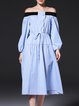 Sky Blue Sweet Paneled A-line Midi Dress
