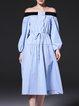 Sky Blue Sweet Paneled A-line Midi Dress