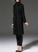 Black Lapel Pockets H-line Wool-blend Coat with Belt