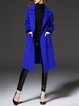 Royal Blue Pockets Casual H-line Long Sleeve Wool-blend Coat with Belt