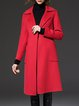 Casual Red Lapel Pockets H-line Simple Wool-blend Coat  with Belt
