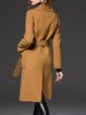 Camel Pockets Simple H-line Wool-blend Coat with Belt
