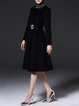 Black   A-line Long Sleeve Buttoned Coat with Belt