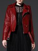 Wine Red Long Sleeve PU Lapel Biker Jacket With Belt