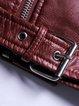 Wine Red Long Sleeve PU Lapel Biker Jacket With Belt