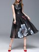 Black Elegant Leather Floral Hand-drawn Organza Midi Dress