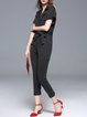 Black Wool Blend Short Sleeve Stripes Lapel Jumpsuit with Belt