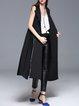 Black Buttoned Binding Elegant Lapel A-line Vest